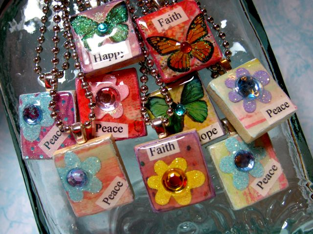 Mod podge monday simple scrabble tile pendants art by debbie saenz scrabble tiles aloadofball Image collections