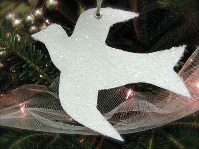 Glittered Dove Ornament