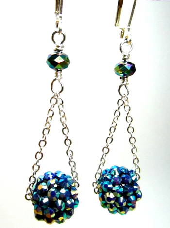 Earrings Blue Globe