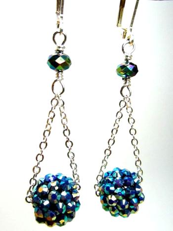 Earrings Blue Globe