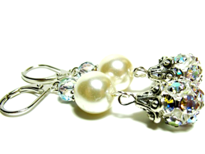 Earrings Pearl:iridescent