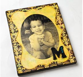Monogrammed Antiqued Photo Canvas....