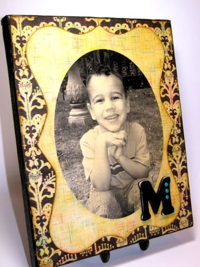 Monogrammed Antiqued Photo Canvas...